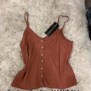 Button up spaghetti strap maroon top
